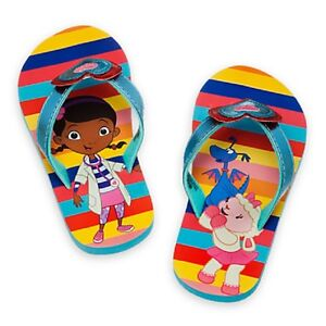 e0c190414391 DISNEY STORE DOC MCSTUFFINS CUTE FLIP FLOPS FOR GIRLS NWT BLUE WITH ...