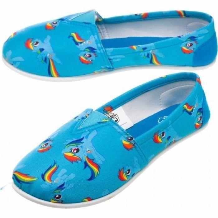 My Little Pony Dash Blue Dark Logo Print Canvas Ladies Slip-On SHOES Slippers