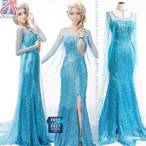 Image is loading Women-Adults-Frozen-Princess-Queen-Elsa-Costume-Cosplay-  sc 1 st  eBay & Women Adults Frozen Princess Queen Elsa Costume Cosplay Party Fancy ...