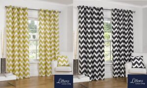 Luxury-Chevron-Stripes-Half-Panama-Cotton-Pair-Curtains-Eyelet-Ring-Tops-Lined