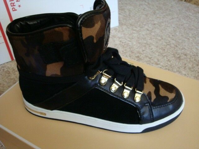 NIB Women Michael Kors Greenwich High Top Black/Olive Shoes Sneakers Size 7