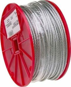 NEW-CAMPBELL-700-0827-1-4-034-X-250FT-ROLL-GALVANIZED-AIRCRAFT-STEEL-ROPE-CABLE