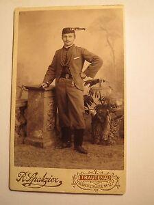 Trautenau-wohl-Turner-Sokol-mit-Muetze-Guertel-Uniform-Kulisse-CDV