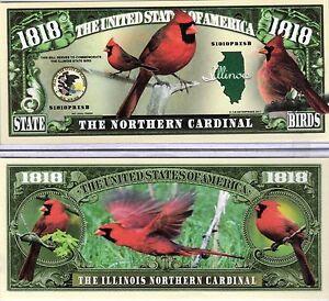 the northern cardinal illinois state bird 1818 novelty money ebay