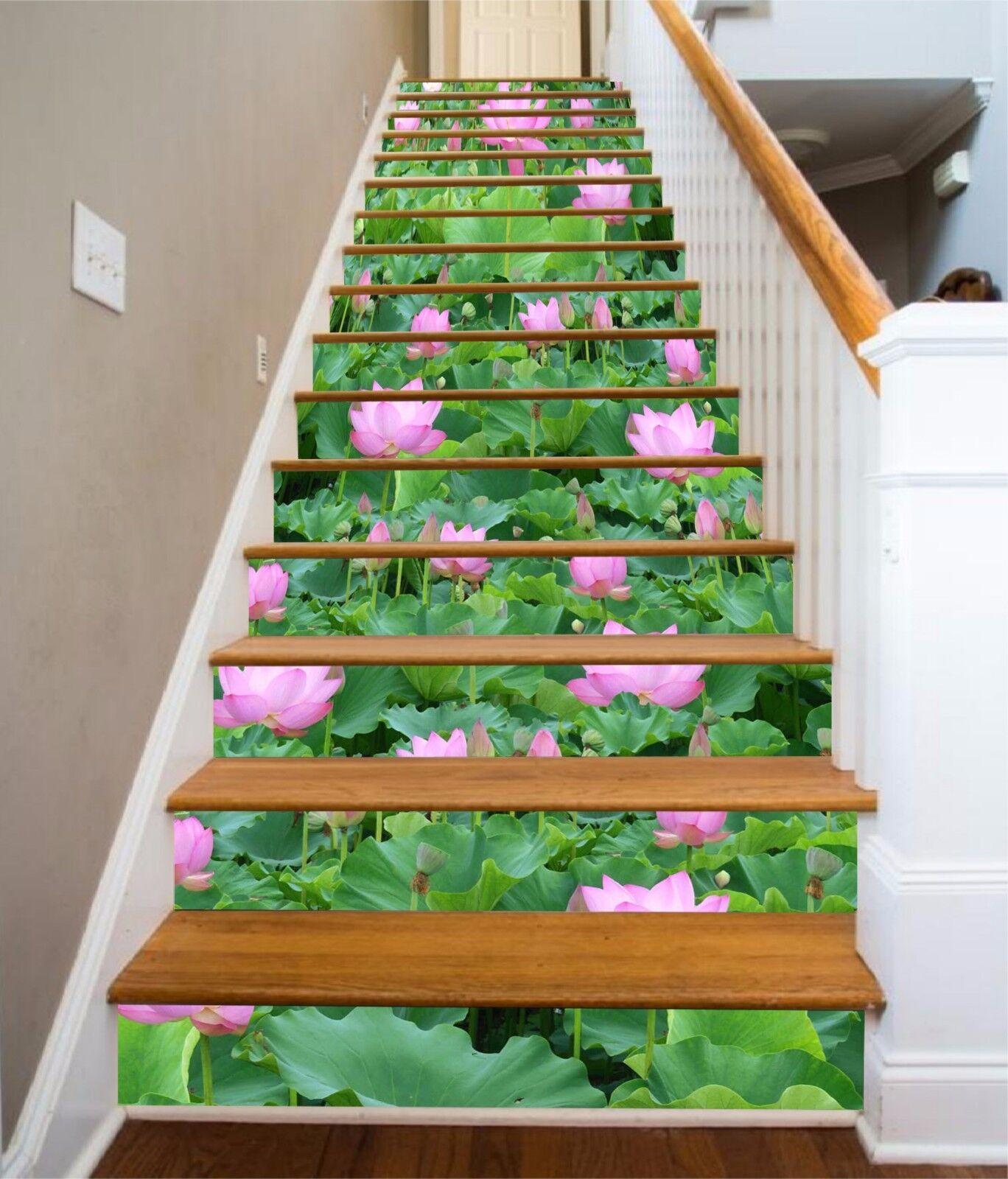3D Lush Lotus 180 Stairs Risers Decoration Photo Mural Vinyl Decal Wallpaper US