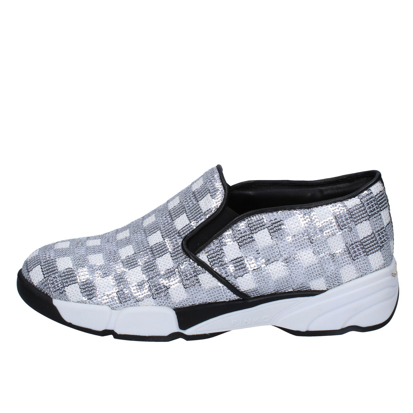 women's shoes PINKO 6 () slip on white silver paillettes BT251-36