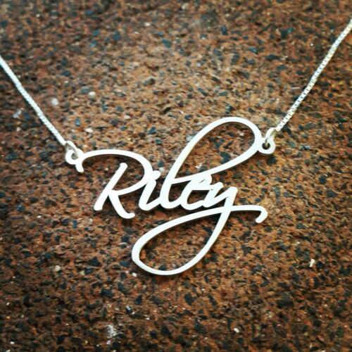 Riley Name Necklace Bionce necklace style Order Any name silver name necklace