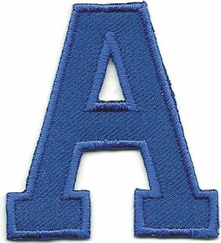 """1 3//4/"""" x 2/"""" Blue Monogram Block letter A Embroidery Patch"""