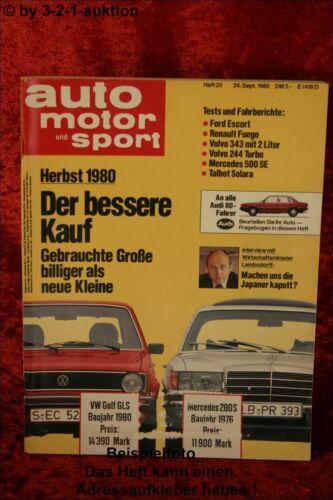 AMS Auto Motor Sport 20//80 Mercedes 500 SE Volvo 244 turbo Renault Fuego GTX