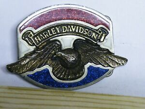 Belt-Buckle-Harley-Davidson-with-Eagle-Red-and-blue-Made-in-the-USA