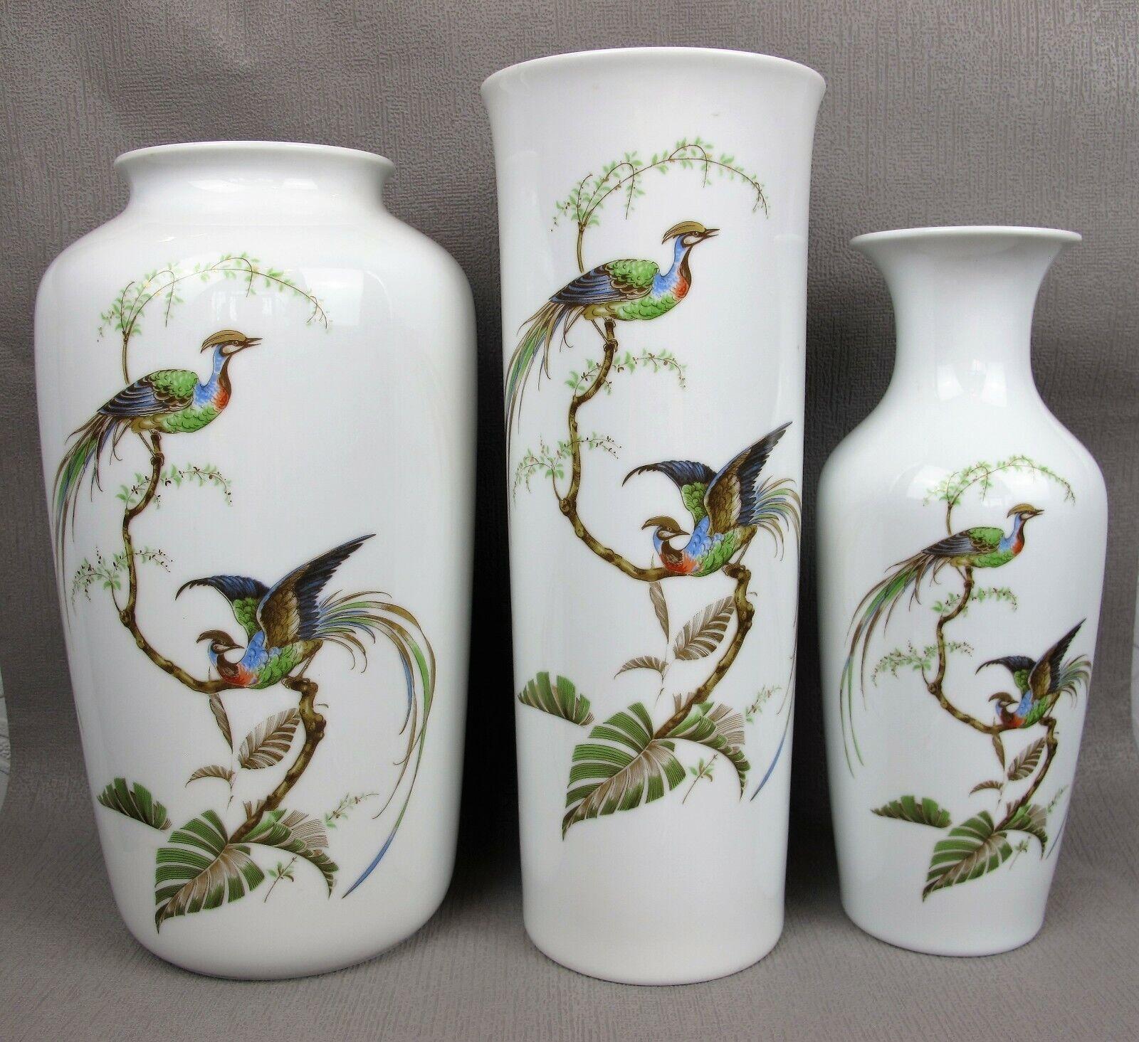 3 x stunning AK Kaiser  Sudsee  FLOWER VASES. Exotic Paradise Birds. W Germany.