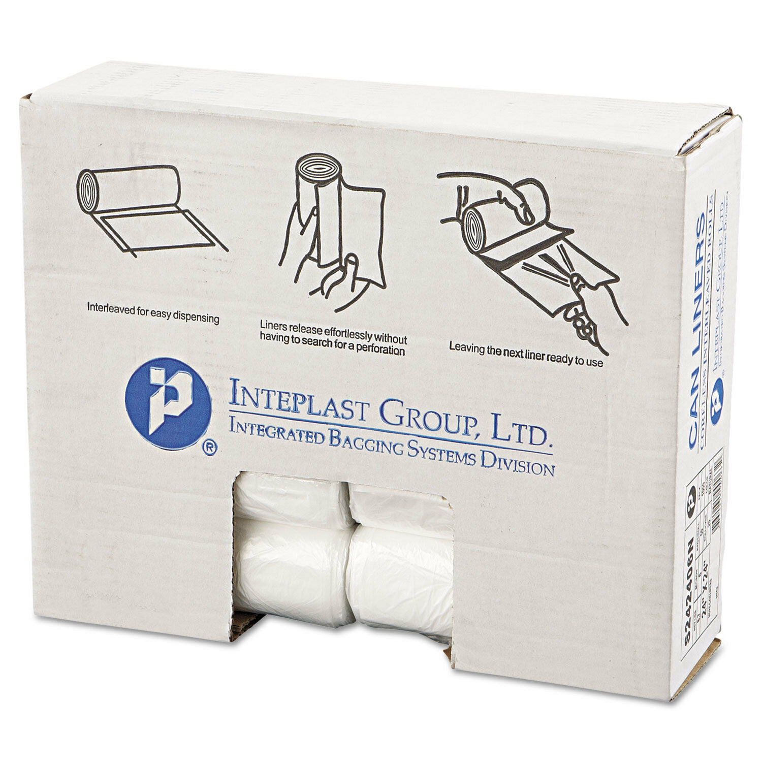 Inteplast Group High-Density Can Liner 24 x 24 10gal 6mic Natural 50 Roll 20