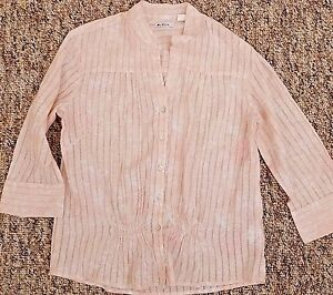 Ben-Sherman-Blouse-Shirt-Top-Women-039-s-Large-L-Pink-Floral-3-4-Sleeve-Cotton