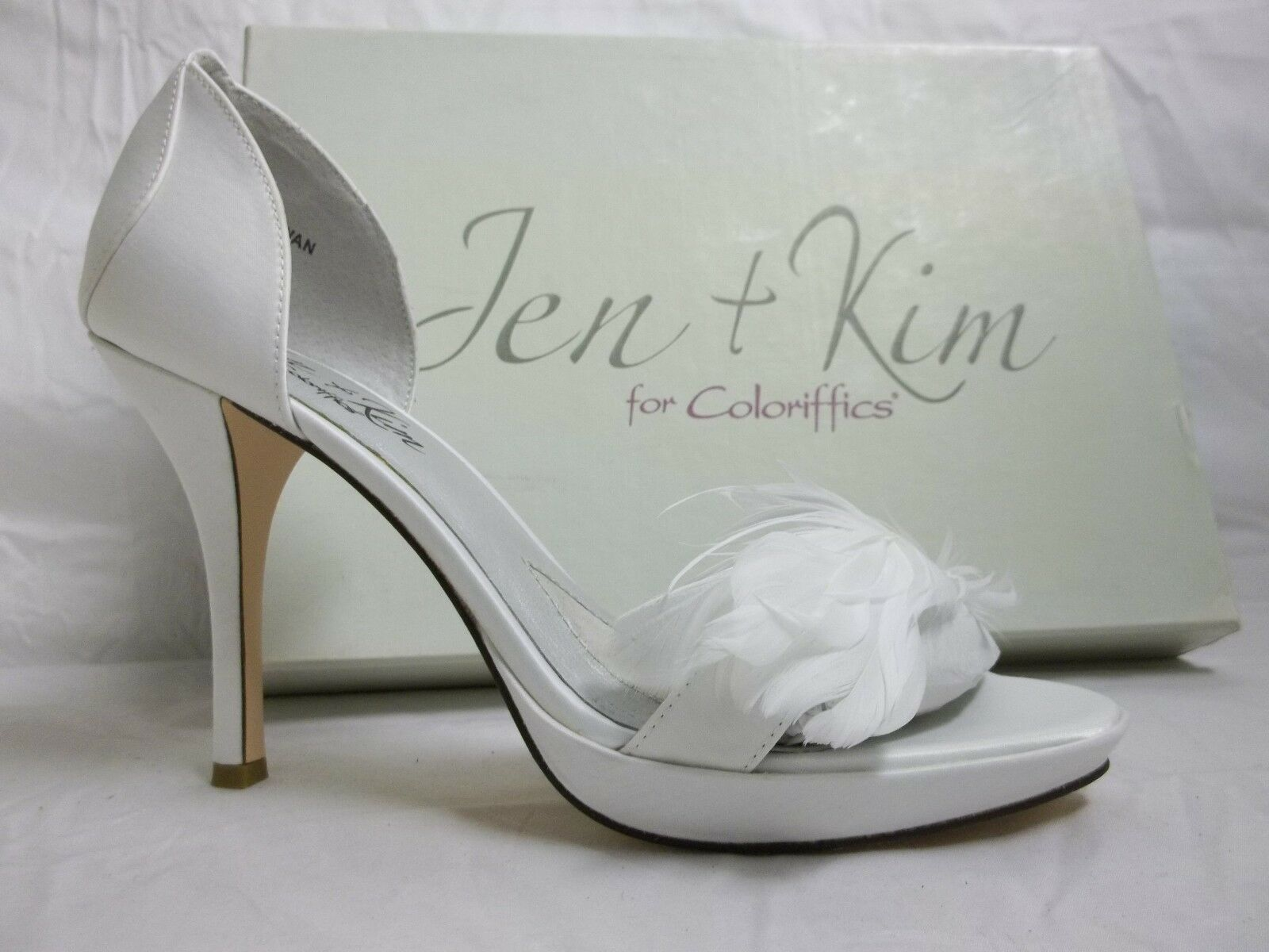 Jen + Kim For coloriffics Size 9 M Swan White Open Toe Heels New Womens shoes