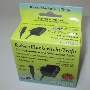 Steger-Ruhe-und-Flackerlicht-Trafo-fuer-Puppenhaeuser-Krippen-3-5Volt