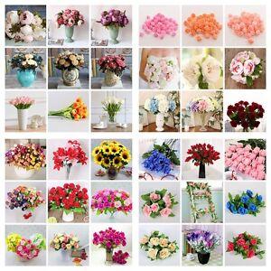 Artificial Silk Bridal Fake Flowers Leaf Wedding Bouquet Party