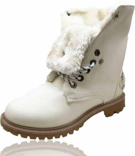 LADIES WOMENS TURN OVER FLAT GRIP SOLE FUR LINED WINTER BUCKLE BOOTS SHOES SIZE