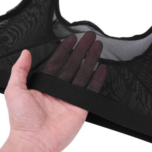 Women Mesh Sheer Crop Top T-Shirts Top Lingerie Sleeveless See Through Bra Vest