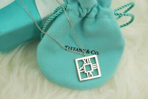 AUTHENTIC-Tiffany-amp-Co-Sterling-Silver-Square-Atlas-Necklace-16-1-2-034-1160