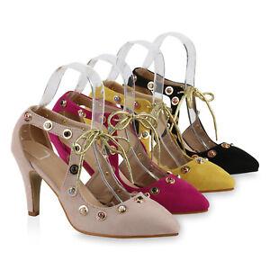 Spitze Damen Pumps Metallic Stiletto Absatz Perlen 817213 Schuhe