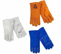 """Steiner 14"""" Cowhide Leather Cotton Lined Welding Gloves — Size Large"""