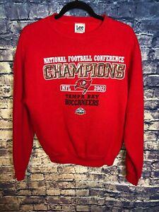 Vtg 2002 National ConfLee Sport Tampa Bay Bucs Buccaneers Sweatshirt Size Large