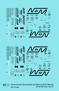 K4-HO-Decals-Nacionales-De-Mexico-50-Ft-Ribbed-Boxcar-Black-NDEM-Unir-Servir