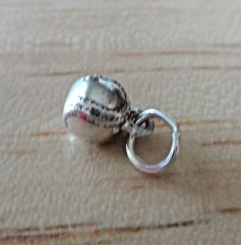 Sterling Silver 3D 6 mm minuscule massif Baseball Softball Ball Charm