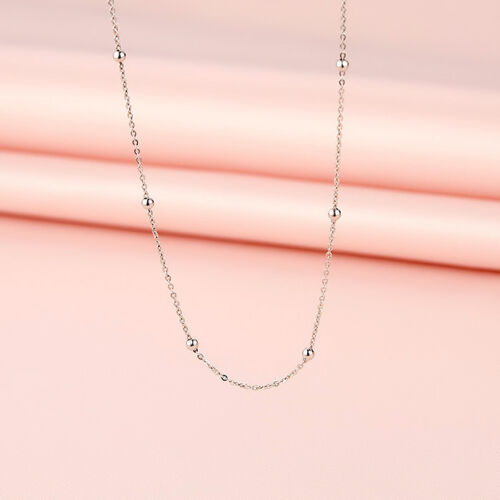 1Pcs Pure Solid 18K White Gold Necklace Women/'s O Link Chain With Some Bead 1.1g