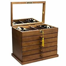 Large Wooden Jewelry Box For Women With Mirror 6 Layer Lockable Gift Storage