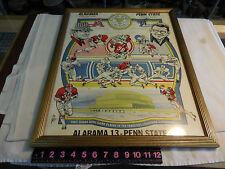 RARE GLASS FRAMED ALABAMA VS PENN STATE 1975 SUGAR BOWL Poster ,BEAR & PATERNO