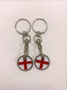 2 Pack George Cross One Pound Coin Token Keyring Shopping Trolley Keyring Apparence Brillante Et Translucide