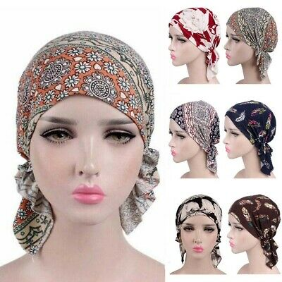GETACOTA Cotton Pre Tied Scarf Chemo Cancer Turban for Women Cap Slip on Beanie Head Cover Hair Loss Hat Headwear Accessories