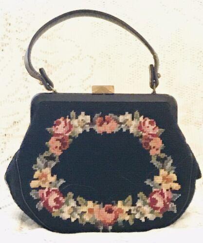 Vintage 1950s Black Handmade Needlepoint Rose Flor