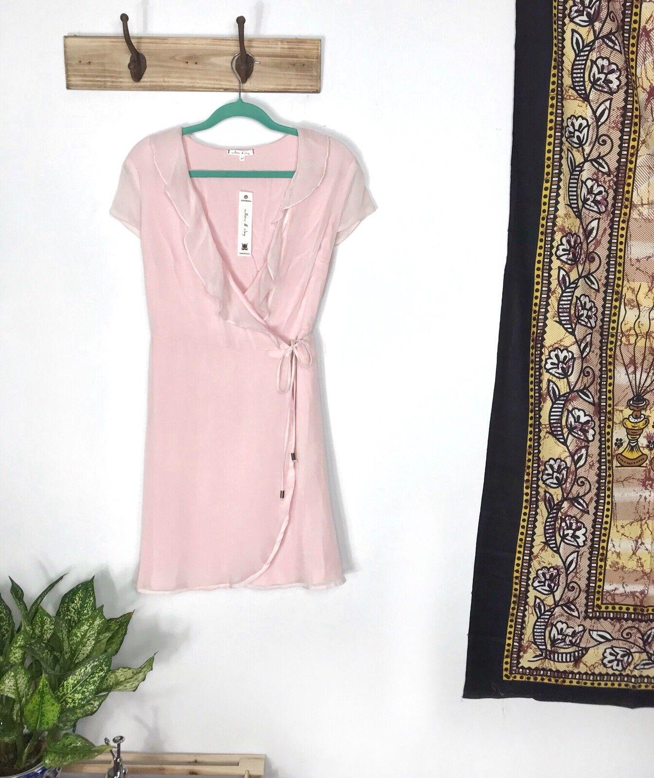 Willow & Clay M dress Pink Ruffle Short-Sleeve Wrap Around bluesh NEW