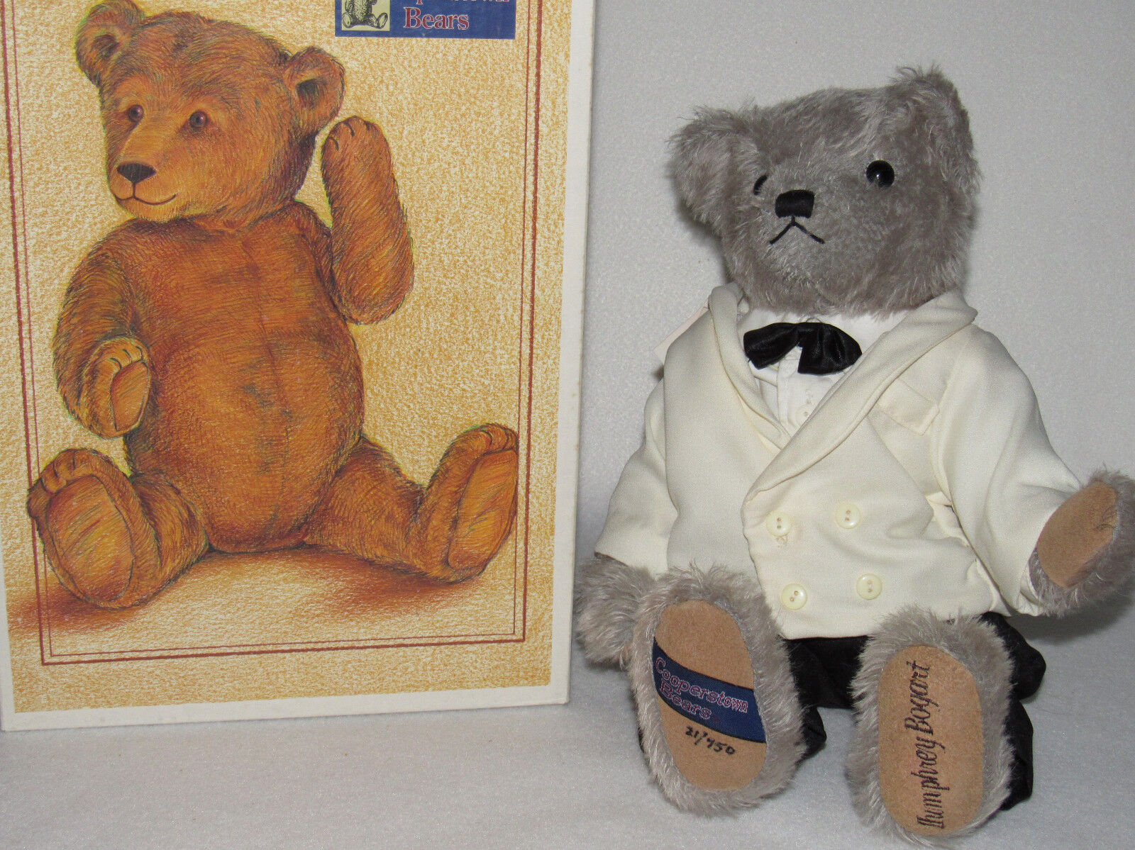 HUMPHREY BOGART  COOPERSTOWN FULLY JOINTED 16  MOHAIR LTD ED BEAR - MIB & TAGS