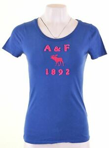ABERCROMBIE-amp-FITCH-Womens-Graphic-T-Shirt-Top-Size-12-Medium-Blue-Cotton-HF05