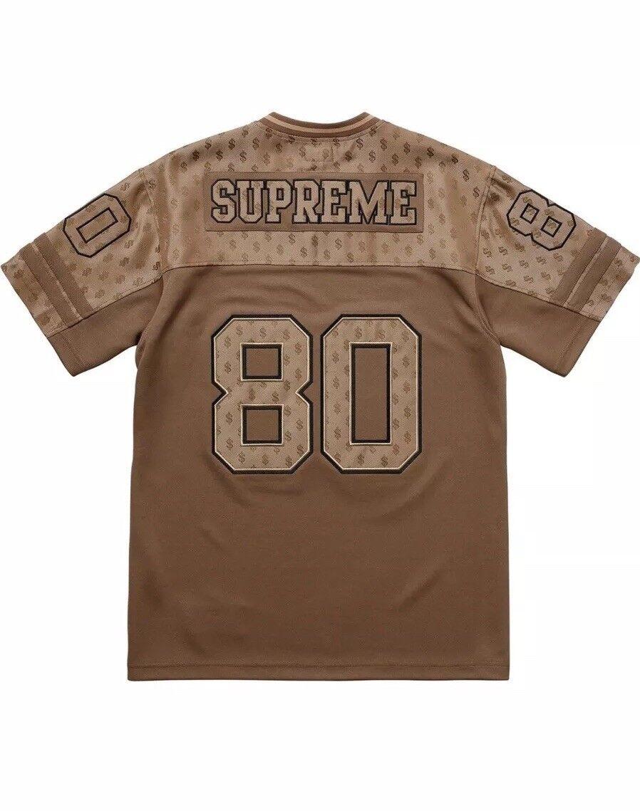 Supreme Braun Monogram Money Größe Large Football Jersey Men IN HAND New L SS18