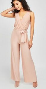 New-Look-Wrap-type-amp-Pleated-Jumpsuit-in-Nude-Tie-up-RRP-22-99-UK-Sizes-6-to-18