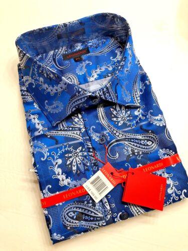 Mens Leonardi French cuff dressy fancy shirt club elegant PAISLEY BLUE SILVER 18