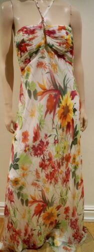 colore Lavanderia chiffon floreale Segal Shelli abito multi strappy in crema di multicolore lungo 3L4ARj5q