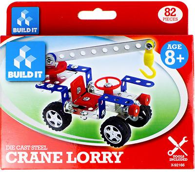 Die Cast Steel Build it Cherry Picker Vehicle Construction Model Kit Kids Toy