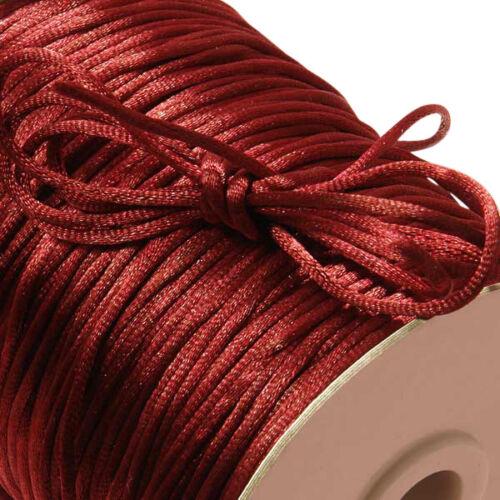 100//200yd 2mm Satin Rattail Cord Nylon Shamballa Macrame Beading kumihimo string