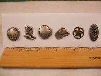 Western Sewing Buttons Metal Set Of 6 Buttons From Italy See Full Listing