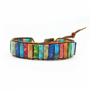 Handmade-Chakra-Natural-Stone-Tube-Beads-Multi-Color-Leather-Wrap-Bracelet