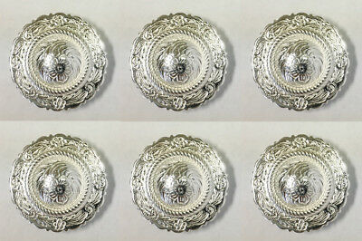 """Western Equestrian Tack Bright Silver Rope 1 1//4/"""" Concho/'s Set of 6"""