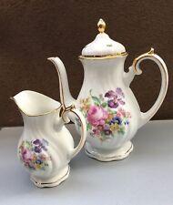 Kaffeekanne / Teekanne + Milchkanne Rosenmotiv Goldrand Gloria Porzellan Germany