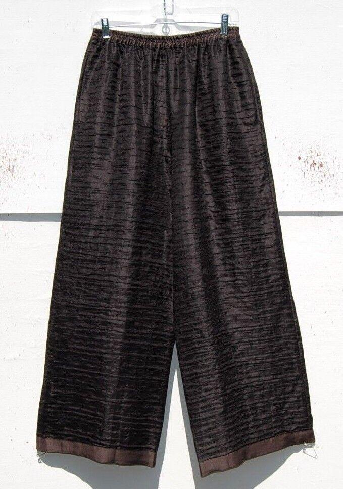 Eskandar DARK BROWN TEXTURED SILK LINEN 52  Wide Leg Trouser (1)  1690