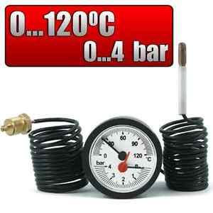 Thermo-PRESSURE-GAUGE-CAPILLARY-TUBE-THERMOMETER-GAUGE-Buderus-4-Bar-120-C-1-4-034-54mm