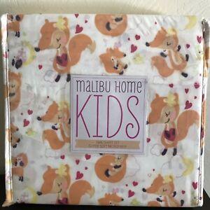 Malibu-Home-Kids-TWIN-Sheet-Set-Girls-FOXES-HEARTS-Microfiber-SOFT-Cute-NEW